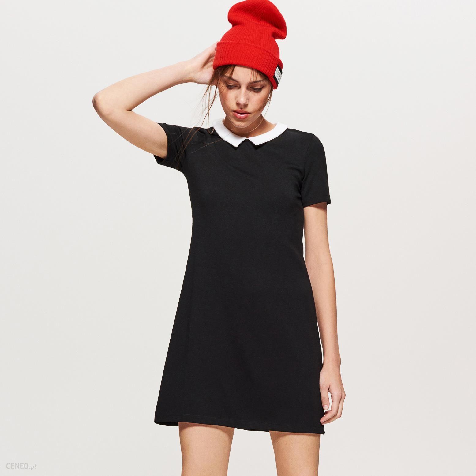 bd676029ed Cropp - Sukienka z białym kołnierzykiem - Czarny - Ceny i opinie ...