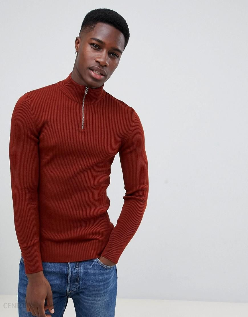 ea49f8de ASOS DESIGN muscle fit ribbed half zip jumper in auburn - Orange - zdjęcie 1