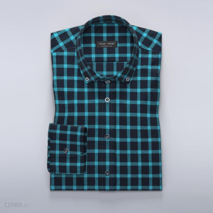 TailorStore Flannel dress shirt in blue navy - zdjęcie 1 b4bb1484be