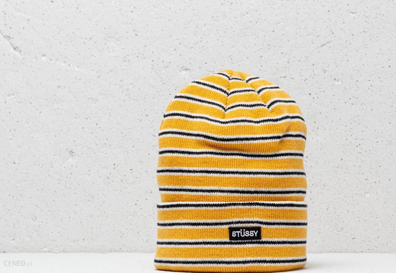66a93d6fc63 Stüssy Striped Fa18 Cuff Beanie Yellow - zdjęcie 1
