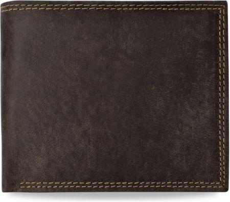 25573f66274d9 Pojemny poziomy portfel męski postarzana skóra naturalna nubuk - brązowy