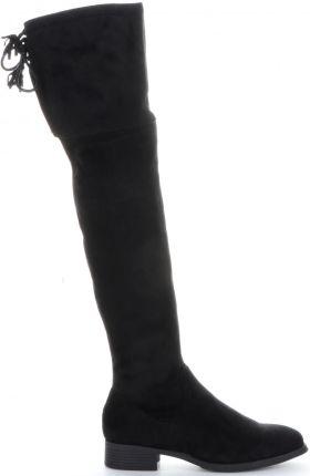 fb5f039e621e8 Kozaki Damskie z wiązaniem z tyłu firmy Bellucci Czarne (kolory) ...