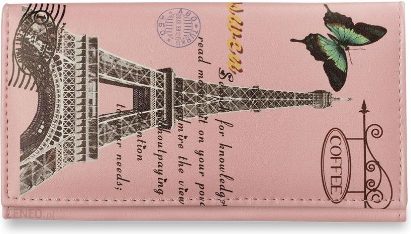 42665c843e4df Modny duży portfel młodzieżowy kolory wzory - różowy paryż - Ceny i ...