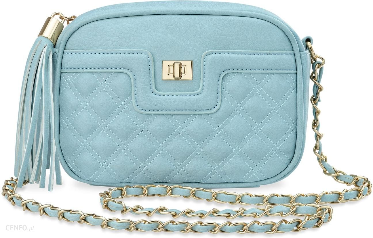 e40e630acff48 Pikowana chanelka torebka damska elegancka listonoszka frędzle – błękitny -  zdjęcie 1
