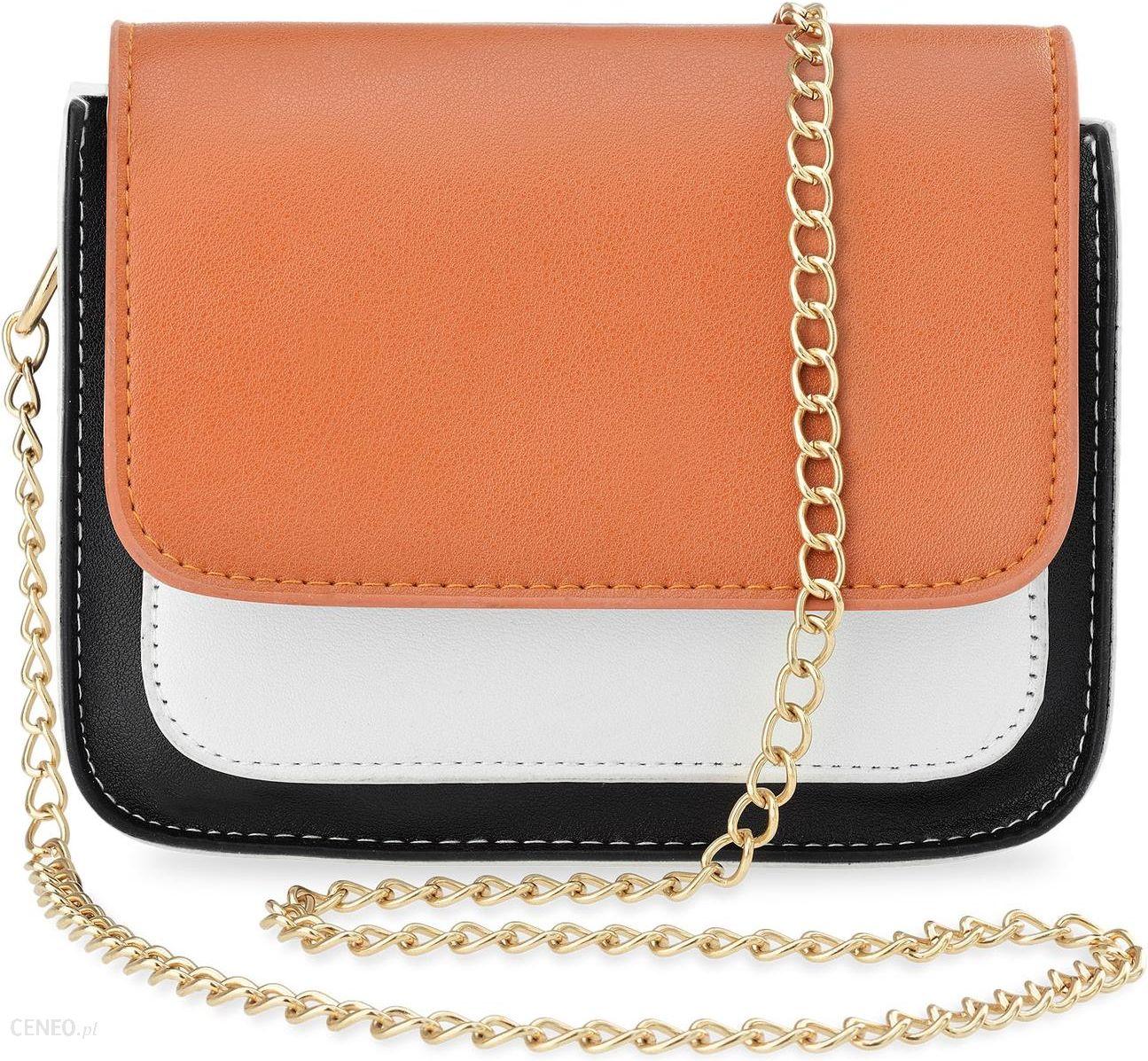f239f7ab6af0a Listonoszka damska na łańcuszku elegancka torebka – czarno-biała z  pomarańczową klapką - zdjęcie 1