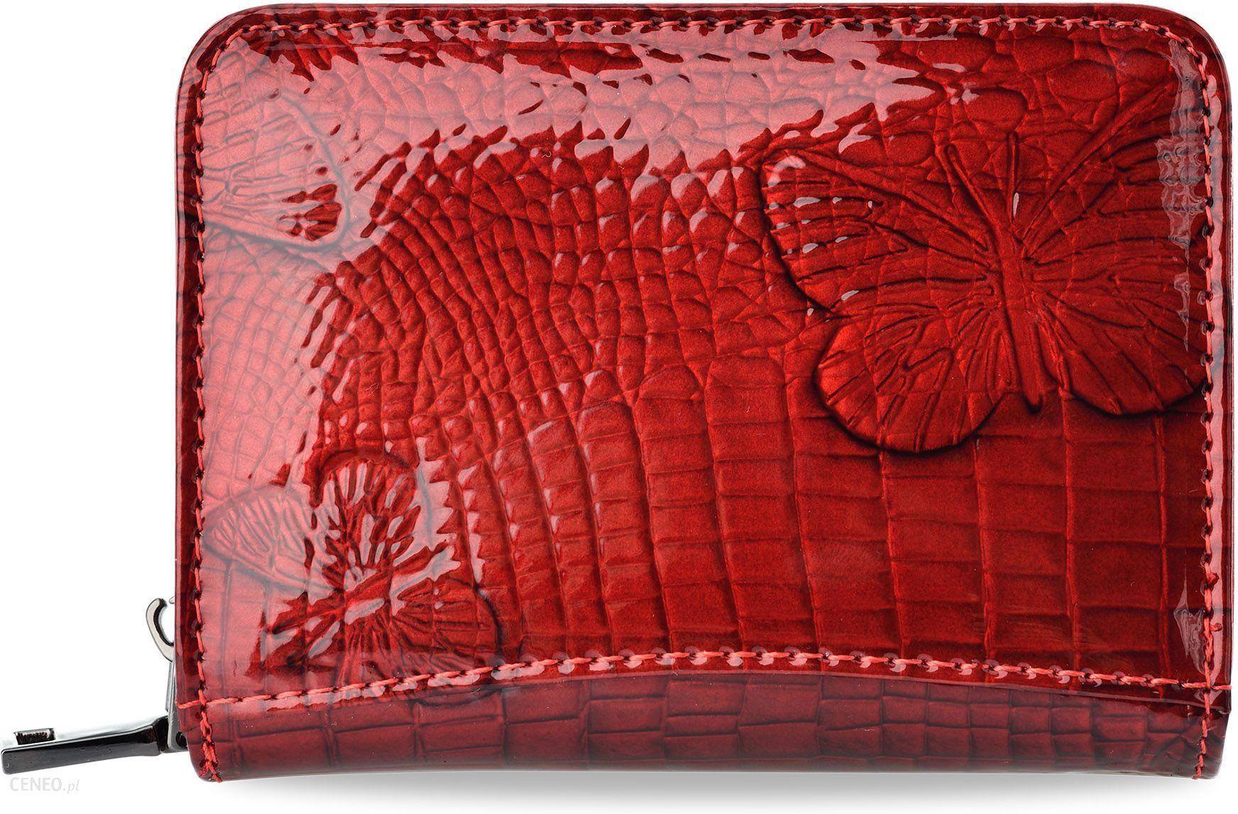 ae1f6b1cf4398 Mały portfel damski loren skóra lakierowana w motyle - czerwony - zdjęcie 1