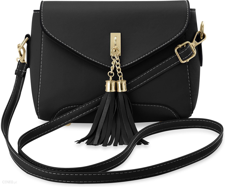edf6c03923303 Sztywna listonoszka w stylu retro torebka damska hippie frędzle - czarny -  zdjęcie 1