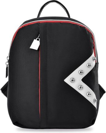 eb0b6dcd249c6 Modny plecak damski z kolorowym zamkiem i geometryczną naszywką z jetami -  czarny