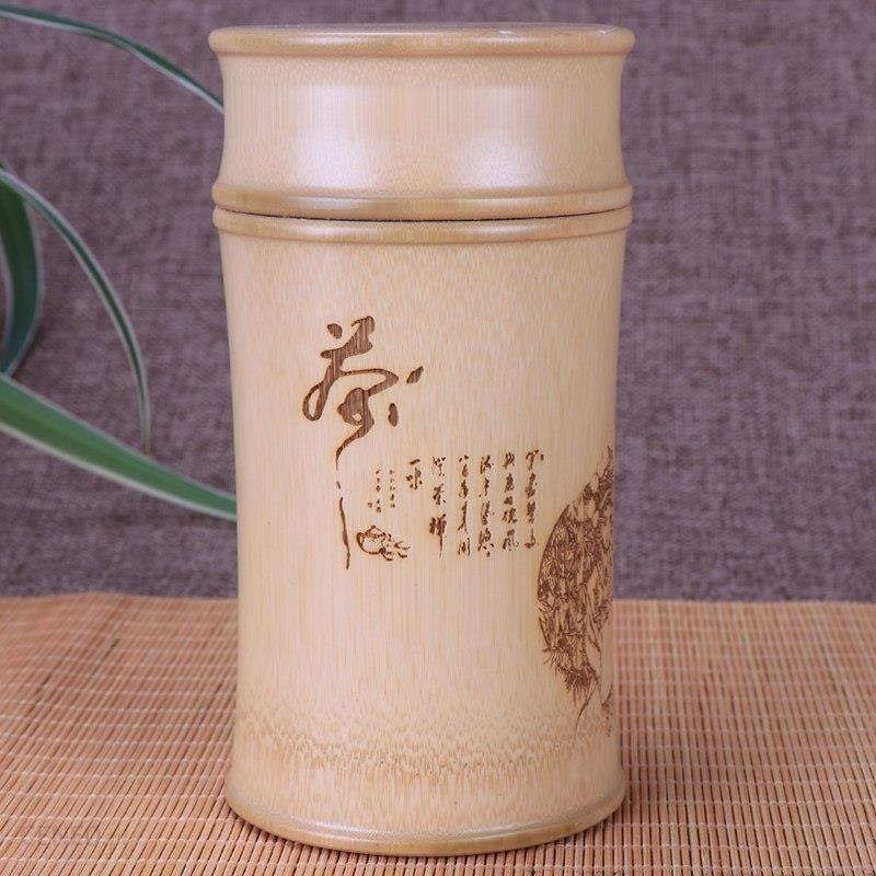 Aliexpress Bambus Przechowywania Butelki Dla Kuchni Słoiki Pojemnik Herbata Puszki Case Organizator Spice Box Kanister Rzeźba Okrągłe Herbata Caddy De