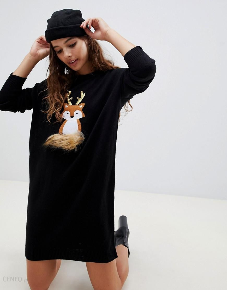 a0afc8db5b3 Brave Soul foxie christmas jumper dress - Black - zdjęcie 1