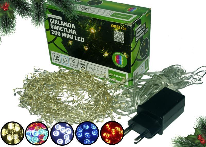 1001mebli Lampki Na Druciku Sznur 5 M 200 Led Mini Diody Zewnętrzne Oświetlenie świąteczne 0448 Niebieski