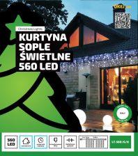 Kurtyna świetlna 12m 560 Led Zewnętrzne Oświetlenie świąteczne Led 0553