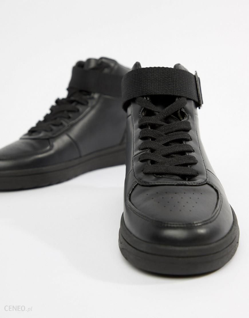 quality design c38df 96fb7 ASOS DESIGN high top trainers in black polish with strap - Black - zdjęcie 1