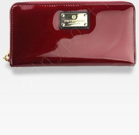 34b6b8677b340 Portfel Damski Skórzany PETERSON 781 Czerwony Lakierowany RFID STOP