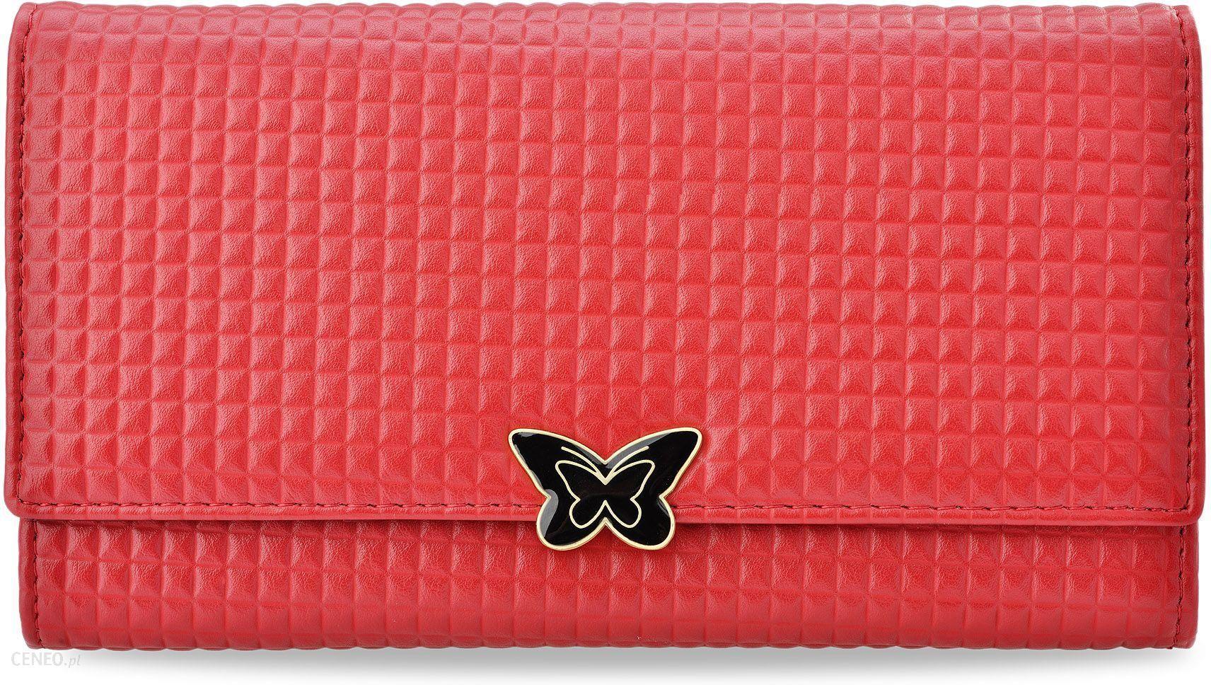 498ebcb85 Pojemny portfel damski cavaldi geometryczne tłoczenie motylek - czerwony -  zdjęcie 1