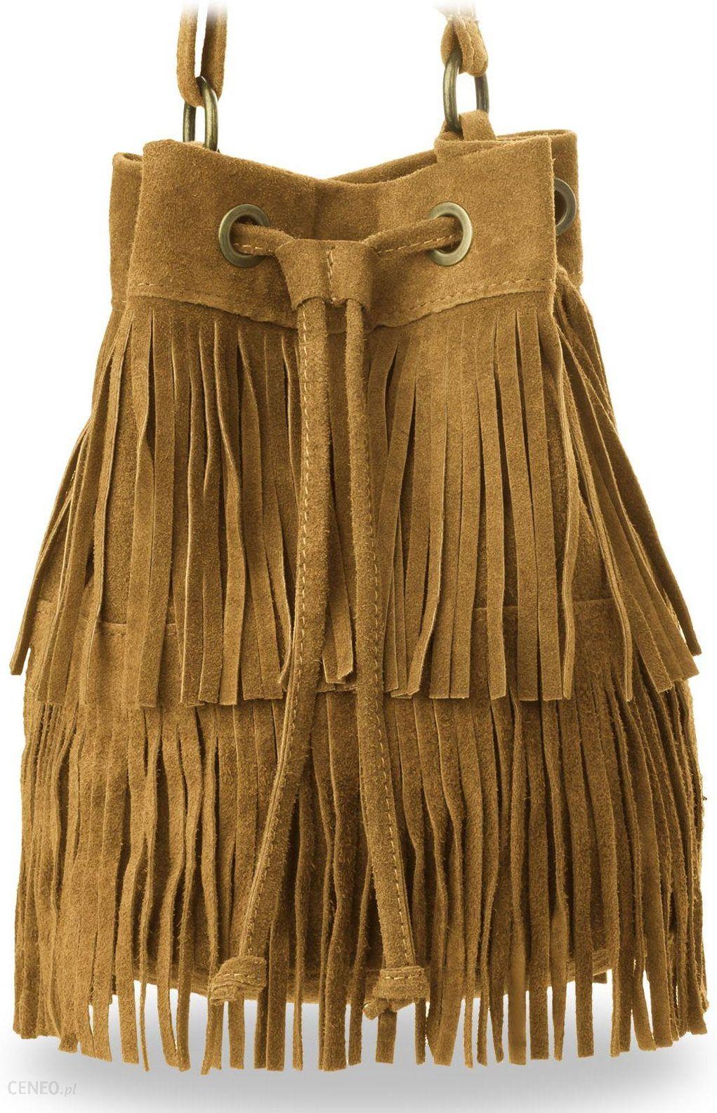 51b870c74e4e2 Sakwa torebka boho worek damski zamsz made in italy hippie - camel -  zdjęcie 1