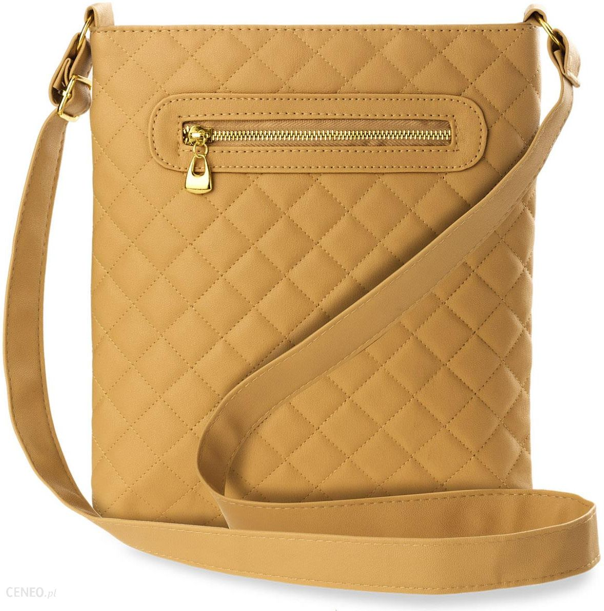 bd3e0d21a5ff1 Pikowana listonoszka klasyczna torebka damska na ramię - beżowy - zdjęcie 1