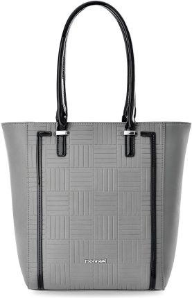 a940fad0f8375 Duża shopperka monnari torebka damska z geometrycznym tłoczeniem i  lakierowanymi wstawkami - szary