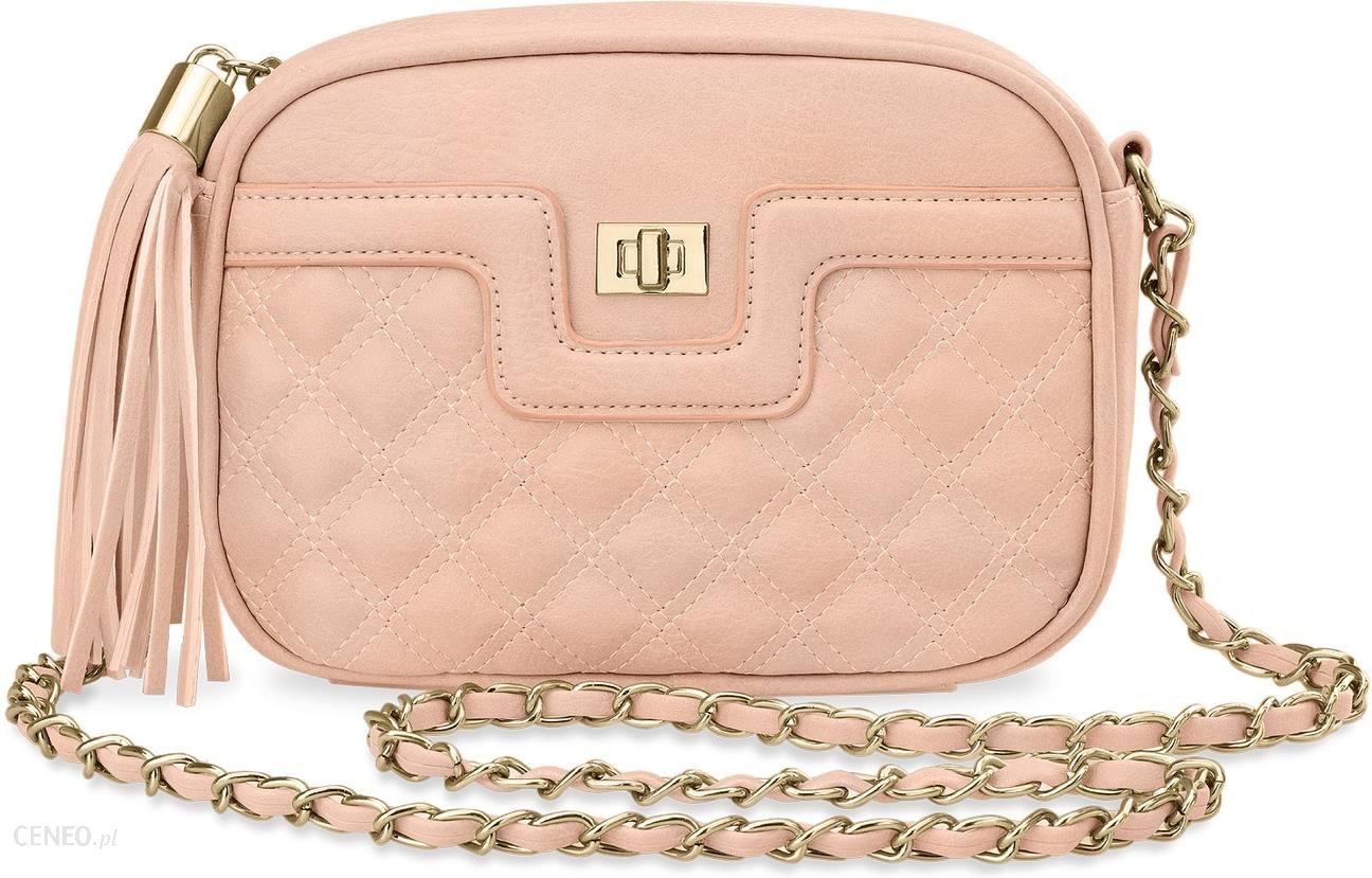 3f2ff85c3e822 Pikowana chanelka torebka damska elegancka listonoszka frędzle – różowy -  zdjęcie 1