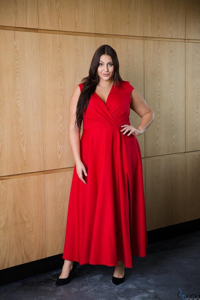 c34c44b9c2 Czerwona Sukienka LOREDANA Plus Size - Ceny i opinie - Ceneo.pl