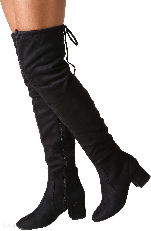 4bb8164c6137b Czarne kozaki muszkieterki za kolano na niskim obcasie Casu W113-1 -  zdjęcie 1