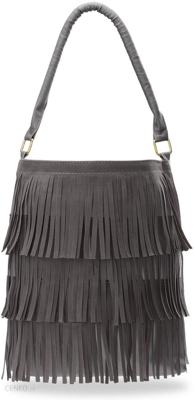 62b3fb14d10a0 Torebka zakupowa shopper bag frędzle boho - grafitowy - Ceny i ...