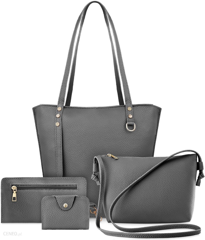 1dbdf839f81ca Zestaw torebek damskich 4w1 shopper bag listonoszka etui saszetka -  popielaty - zdjęcie 1