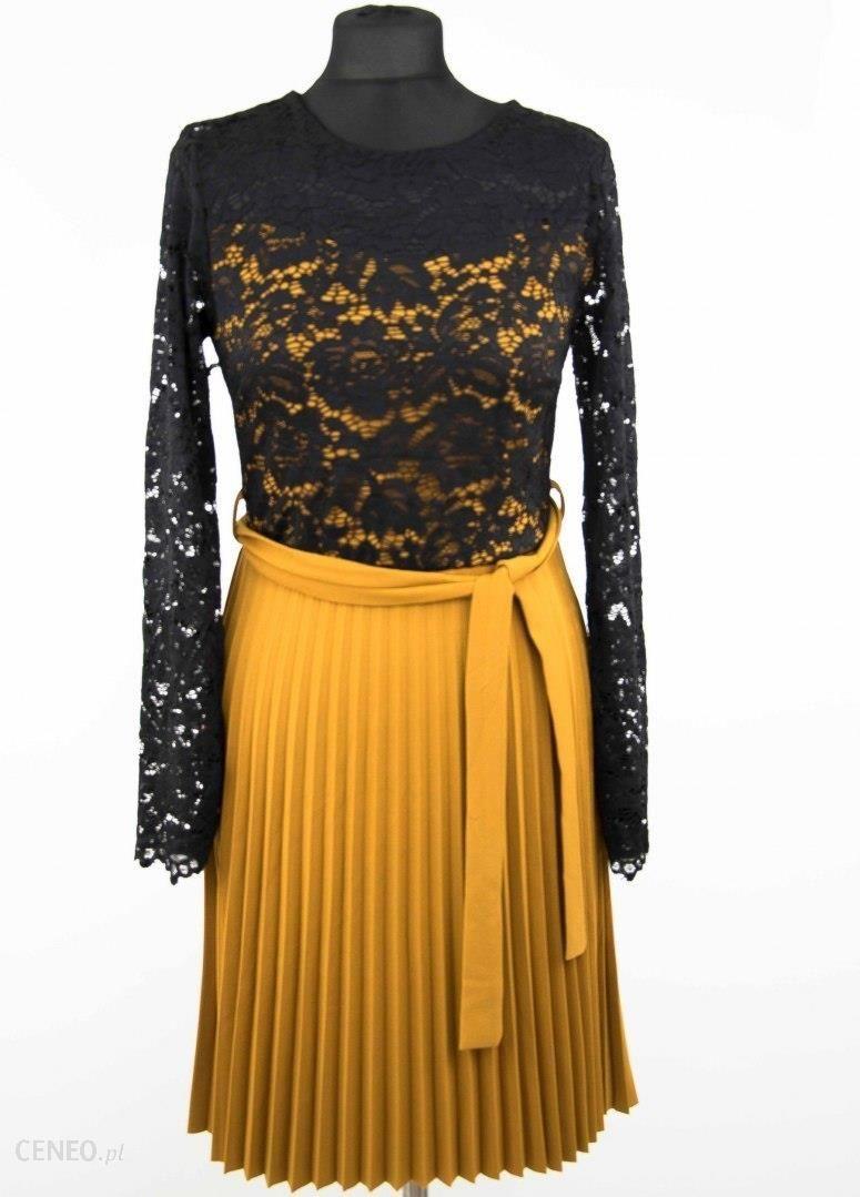 b496e8f7 Musztardowa sukienka plisowana z koronką - Ceny i opinie - Ceneo.pl