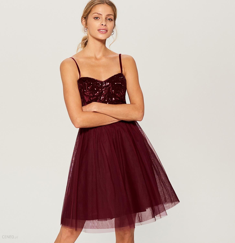 7fd93da4 Mohito - Rozkloszowana sukienka z cekinowym topem - Bordowy - Ceny i opinie  - Ceneo.pl