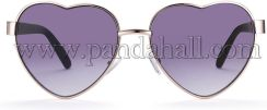 New Fashion Women Summer Heart Sunglasses, Gold Frames, Purple, 13.33x5.05cm