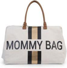 e952d520f5943 Childhome Torba podróżna Mommy Bag kremowa paski czarno-złote
