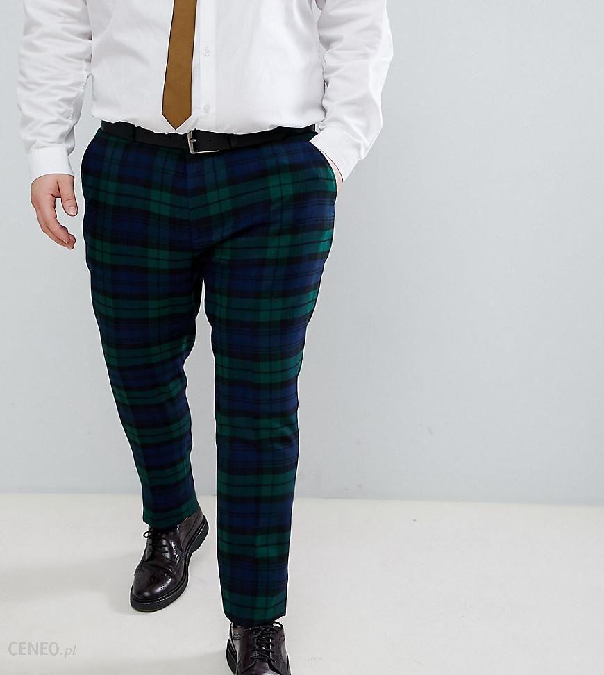 bf656ec922a5f ASOS DESIGN Plus Wedding Super Skinny Suit Trousers In Blackwatch Tartan  Check - Green - zdjęcie