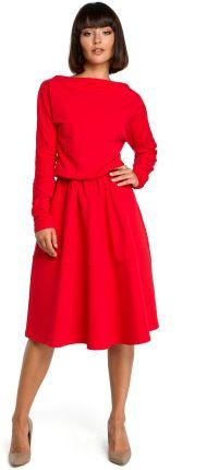 335099b1b2 Sukienka midi z luźną górą z rozkloszowanym dołem czerwona B087