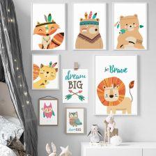 Aliexpress Jelenie Lisa Lion Niedźwiedź Sowa Sen Nordic Plakaty I Reprodukcje Wall Art Canvas Malarstwo ścienne Zwierząt Obraz Kids Pokoju Dziecka Syp