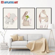 Aliexpress Cartoon Słoń Królik Deer Wall Art Canvas Malarstwo Plakaty I Reprodukcje Nordic Plakat Zwierzęta Zdjęcia ścienne Wystrój Pokoju Dla Dzieci