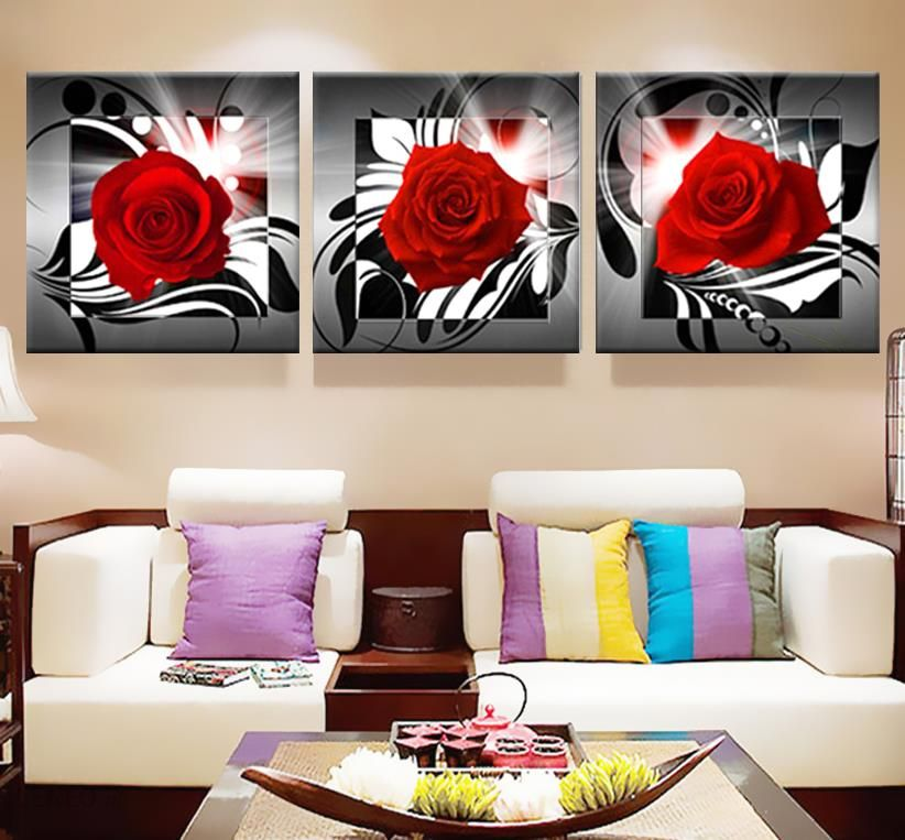 Aliexpress Blejtram Róże Sztuka Nowoczesna Modułowa Zdjęcia Obrazy Do Kuchni Druku Kwiaty Tryptyk Home Decor Plakat Na ścianie Ceneopl