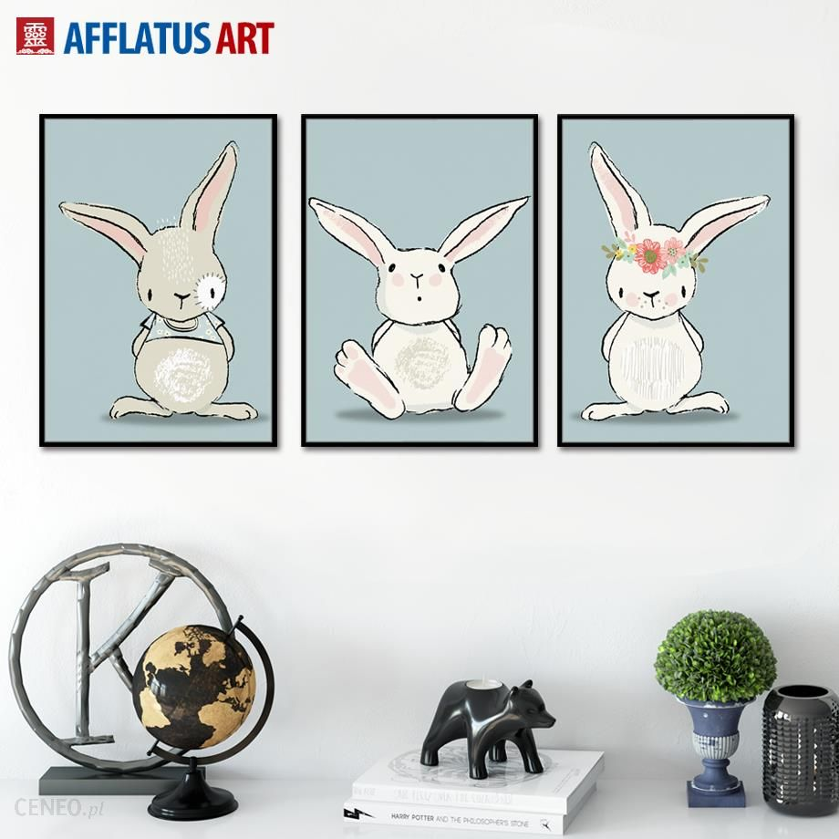 Aliexpress Cartoon Kawaii Królik Wall Art Canvas Malarstwo Plakaty I Reprodukcje Nordic Plakat Zwierząt Zdjęcia ścienne Dla Dzieci Pokój Sypialnia Dec