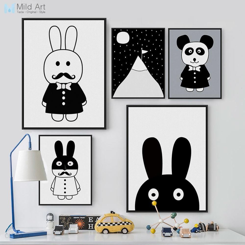 Aliexpress Czarny I Biały Królik Zwierząt Panda Plakaty Druku Dziecko ścienne Zdjęcia Nordic Styl Kawaii Przedszkole Kids Room Decor Płótnie Malarstwo