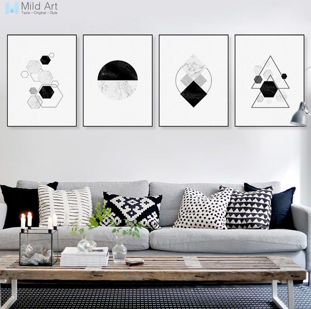 Aliexpress Czarny Biały Streszczenie Mable Geometryczny Kształt Plakat I Druku Scandinavian Living Room Wall Art Home Deco Płótno Bez Ramki Ceneopl
