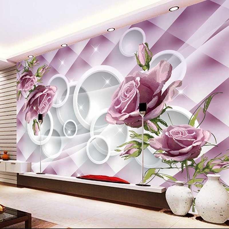 AliExpress Zdjecie Dostosowac Rozmiar 3D Rose Kwiaty Home Decor Fototapety Tapety Salon TV Tle Sciany Malarstwo
