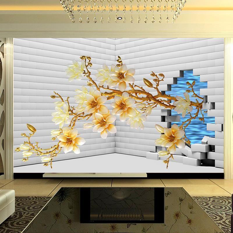 Aliexpress Nowoczesne Domu Klienta 3d Tapety ścienne Sypialnia Sofa Tv Tło Tapeta Mural Malarstwo Kwiaty 3d Tapety Ceneopl