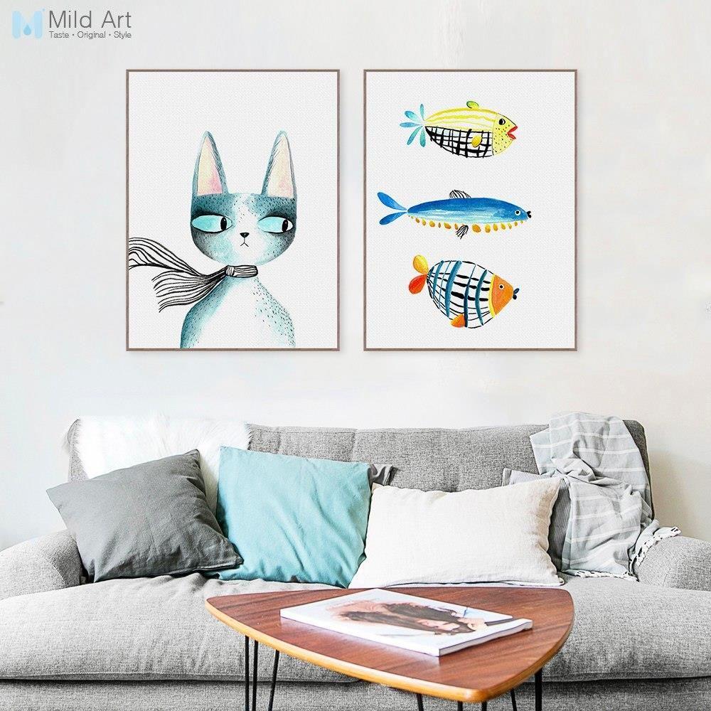 Aliexpress Nordic Nowoczesny Kawaii Zwierzęta Kotów Ryb Płótnie Big A4 Reprodukcja Nursey Plakat Na ścianie Obraz Domu Wystrój Pokoju Dla Dzieci Malow