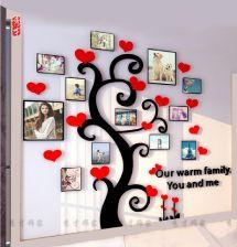 Aliexpress Akryl Stereo Naklejki ścienne Pokój Dzienny Sofa Fototapety ścienne Sypialnia Dekoracyjne Naklejki Ciepłe Ramka Drzewo Naklejki ścienne 3d