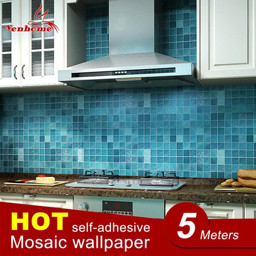 Aliexpress 5 M Pcv Naklejki ścienne łazienka Wodoodporna Samoprzylepne Tapety Kuchnia Wall Paper Mozaika Naklejki ścienne Naklejka Home Decor