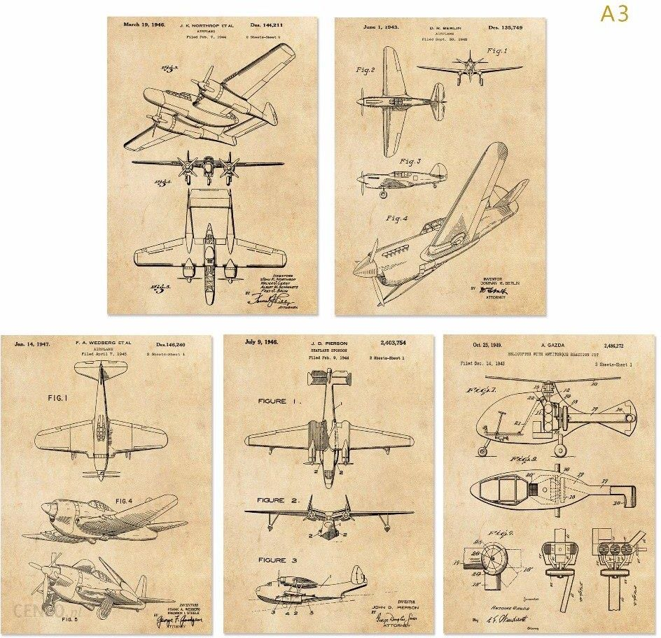 Aliexpress Vintage Patent Art G2 Ii Wojna światowa Przedszkole Plakat Zestawy 5 W 1 Samolot Samolot Samolot Wall Art Klasyczny Samolotu Ceneopl