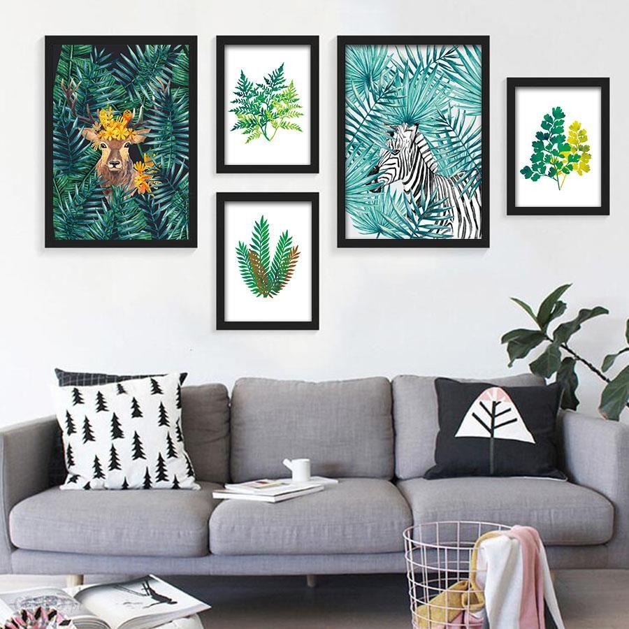 Aliexpress Nordic Stylu Akwarela Kaktus Roślin Tropikalnych Liści Kwiatów Drukowania Płótna ściany Sztuki Plakat Zdjęcia Salonu Wystrój Domu