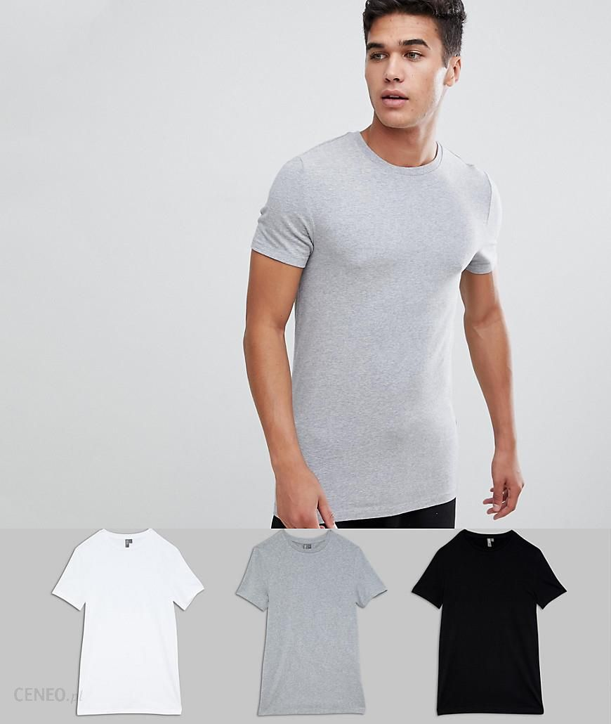 0fc3b266f9f ASOS DESIGN organic muscle fit t-shirt with crew neck 3 Pack SAVE - Multi