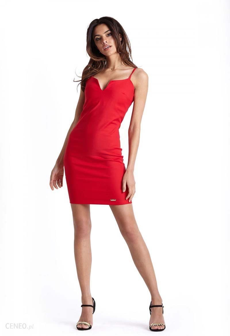 14fd08ea1d Ołówkowa Czerwona Sukienka na Cienkich Ramiączkach IVON - Ceny i ...