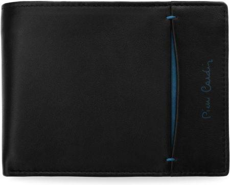 8b4860d93d423 Portfel męski pierre cardin skórzany z wstawką – czarny z niebieskim