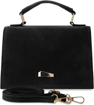 56dd8e9eb7be17 Klasyczna torebka damska welurowa - kuferek z klapką i rączką - czarny